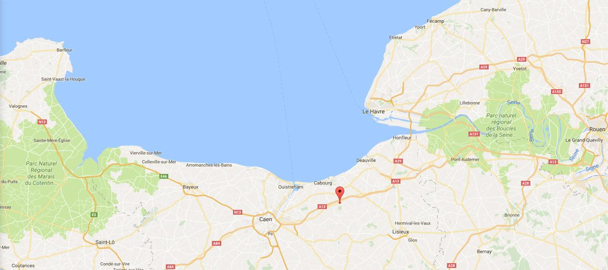 google-map-lieu-fête du miel 2017 Dozulé
